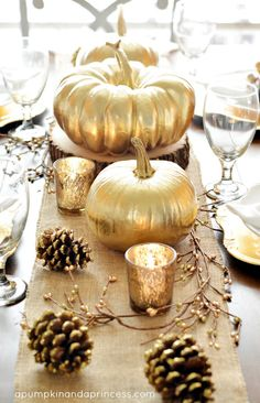 Eight Pumpkin Centerpiece Ideas: Gold Thanksgiving Tablescape