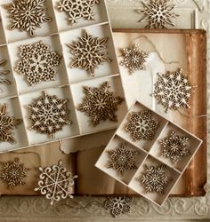 Birch Snowflake Ornaments. Create a winter wonderland of delicate birch snowflakes. Each ornament is skillfully laser cut, leaving a burnt edge that helps define the extricate detailed shape. Also makes a great gift / package accent.