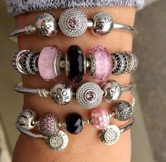 Lovely Pink, black and silver Pandora Arm Party!