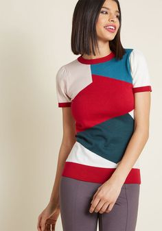 Masterful Mosaic Short Sleeve Sweater