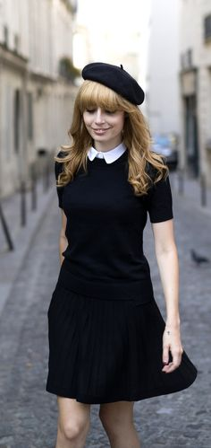 Louise Ebel goes mod wearing a dress and hat from Comptoir des Cotonniers