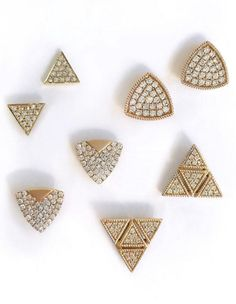 Currently coveting triangle studs! Which pair is your favorite? #danarebecca #studs #diamonds