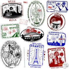 Sellos de pasaportes vectoriales (Vector Passport Stamps)