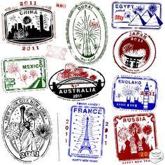 Sellos de pasaportes vectoriales (Vector Passport Stamps)