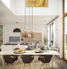Esszimmer Modern Und Frisch Gestalten Mit Holzboden Und Pendelleuchten
