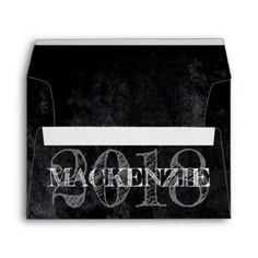 Onyx Holiday | Name Year Black Chalkboard Matte Envelope - personalize gift idea special custom diy or cyo