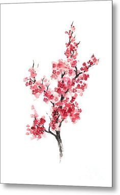 Cherry Blossom Japanese Flowers Poster Art Print by Joanna Szmerdt. - Cherry Blossom Japanese Flowers Poster Art Print by Joanna Szmerdt. All prints are professionally p - Cherry Blossom Drawing, Cherry Blossom Watercolor, Watercolor Flowers, Drawing Flowers, Japanese Watercolor, Watercolor Tattoo, Japanese Tattoo Art, Japanese Tattoo Designs, Japanese Art