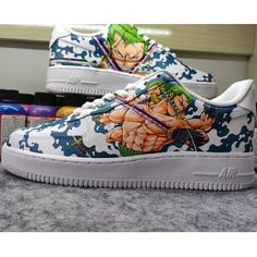 Zoro One Piece Custom Air Force 1 Painted Canvas Shoes, Hand Painted Shoes, Painting Shoes, Custom Jordans, Custom Air Force 1, Zoro One Piece, Unique Christmas Gifts, On Shoes, Nike Air Force