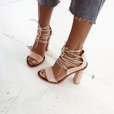 nude, lace-up sandals
