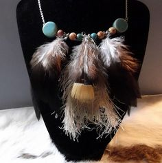 Wild and Spirited Feather/Fiber Necklace by WolfMountainJewelry, $23.00
