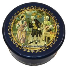 Old nostalgic round tin, with 18th century image The additional edge on the lid ensures that it tightly fits. The lid shows an image of two women and one man depicted in clothing from the 18th century. The man is wearing a periwig.  Tin is in a fine vintage condition. Lid shows signs of wear.   Height: 7.5 cm.  Diameter: 15 cm.  http://www.retro-en-design.co.uk/a-46855139/tins/old-nostalgic-round-tin-with-18th-century-image/