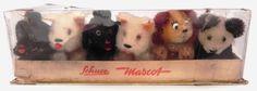 Schuco-Mascot-Noahs-Ark-set-1953-MIB-five-dogs-and-one-panda-maskot-mascotte