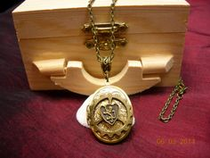 Steampunk Renaissance Lion Griffin Locket in Wood Treasure Box - Personalize with Birthstone Bead on Etsy, $22.75