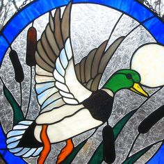 Stained Glass Mallard Duck in Flight Round Panel by LivingGlassArt