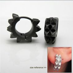 Men S Hoop Earrings Double Spike Charcoal Black Huggie For Hoops E154mb