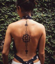 """Mandala Sword tattoo. Original design  #jagua #tattoo #hennashantalla #sexytattoos #backtattoo #mandala #mandalatattoo #bodyart #santodomingo…"""
