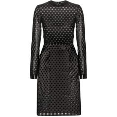 Tom Ford Perforated Leather Dress (€2.980) ❤ liked on Polyvore featuring dresses, tom ford, black, perforated dress, leather cocktail dress, knee length leather dress, knee length dresses and real leather dress