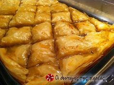 Homemade baklava's secret lies in the generous brushes of fresh butter, in its slow yet meticulous baking to make it crunchy and the rich syrup. Greek Sweets, Greek Desserts, Greek Recipes, Cooking Time, Cooking Recipes, Greek Pastries, A Food, Good Food, Christmas Sweets