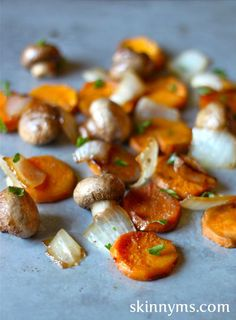 For those aiming for a clean eating holiday, these Sweet Potato Medallions with Mushrooms and Onions pair perfectly with a turkey breast dinner.  #Thanksgivingrecipes #cleaneating
