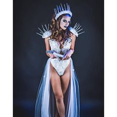 Ice Queen Costume, Sexy Ice Queen, Snow Princess, Ice Queen Crown,... (810 AUD) ❤ liked on Polyvore featuring costumes, sexy princess halloween costumes, snowflake halloween costume, snowflake costume, queen halloween costumes and sexy snowflake costume