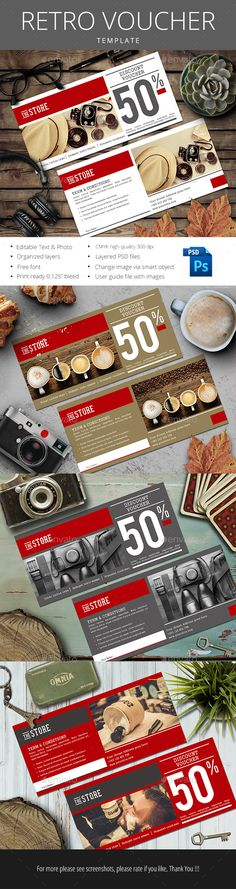 Buy Retro Gift Voucher by monggokerso on GraphicRiver. Retro Gift Voucher file features : Size Inches + Bleed area CMYK / 300 dpi Easy to edit text Well organized PSD. Ticket Design, Flyer Design, Restaurant Vouchers, Food Graphic Design, Postcard Design, Photo Charms, Gift Vouchers, Coupon Design, Name Cards