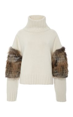 Cross Fox Fur Trimmed Turtleneck Sweater by SALLY LAPOINTE for Preorder on Moda Operandi
