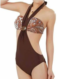 87603b0ab3  23.68 Printed Design Tempting Halterneck One-Piece Swimwear For Women One  Piece Swimwear