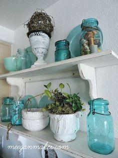 Blue and White Summer Shelves