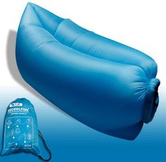 Blue color of Fast Inflatable Sofa Air Bed Festival Camping Travel Holiday  Hangout Bag 10 Seconds 8420795ed9716