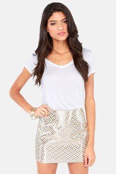 Weave-ening Attire Cream and Gold Brocade Mini Skirt at LuLus.com!