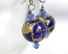 Blue Globe Earrings Handmade Lapis Lazuli History Teacher World Earth
