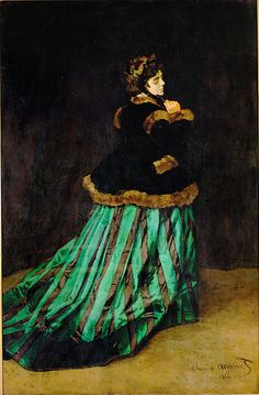 Claude Monet Woman In A Green Dress painting, oil on canvas & frame; Claude Monet Woman In A Green Dress is shipped worldwide, 60 days money back guarantee. Claude Monet, Artist Monet, Moderne Outfits, Monet Paintings, Art Japonais, Camille Pissarro, Impressionist Paintings, Renoir, Famous Artists