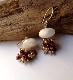 Cascading Gemstone Cluster Drop Earrings on Etsy, $62.00