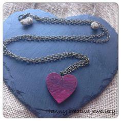 Necklace, Wooden heart pendant