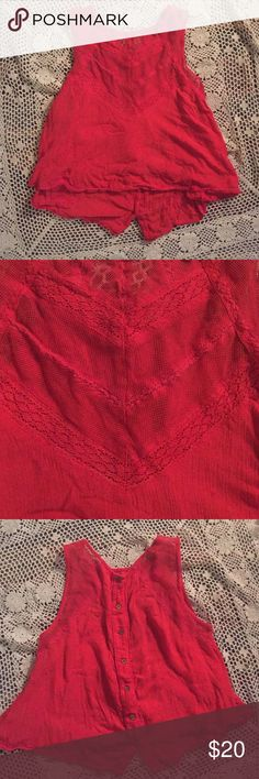 Red top Victorian style lace neckline with wooden buttons going up the back, Free People Tops Tank Tops