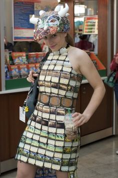 Dress at PAX east that is made entirely out of Magic the Gathering cards