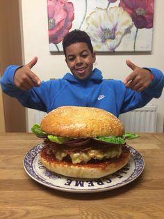 My homemade giant rump steak and bone marrow burger...in a homemade giant brioche bun...