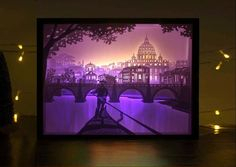 Papercut Light Boxes, Shadow Box Led Light Night lamp, Decorative Mood Light for Kids and Adults, Baby Nursery Kids Bedroom Living Room Night Light(Night in Rome) Shadow Box Kunst, Shadow Box Art, 3d Paper Art, Paper Crafts, Paper Cutting, Licht Box, 3d Light, 3d Laser, Kirigami