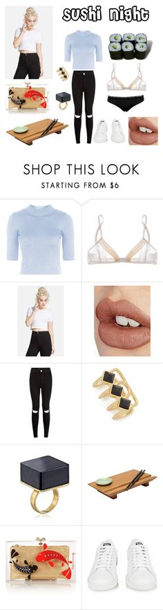 """""""Sushi night"""" by misswednesday ❤ liked on Polyvore featuring Topshop, Miu Miu, Calvin Klein Underwear, Charlotte Tilbury, New Look, Jules Smith, Joyce Chen, Jura, Charlotte Olympia and adidas"""