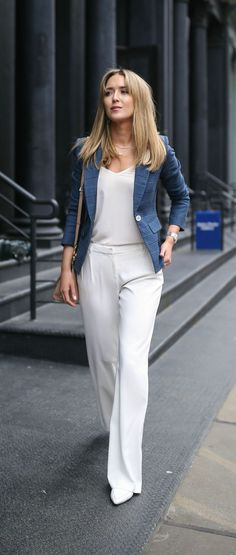 navy blue glen plaid classic blazer with white buttons, ivory wide leg silk pleated front pants, white camisole, white pointed toe flats // veronica beard, nicholas kirkwood