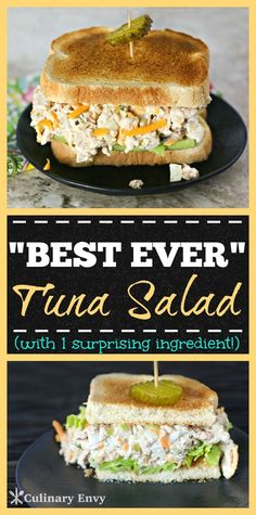 Come see why Everyone wants this recipe! This DELICIOUS Best Ever Tuna Salad Sandwich is a fast lunch, snack or dinner that's tangy, crunchy, creamy and sweet with a totally surprising ingredient. Cl (Try Food Healthy Recipes) Good Food, Yummy Food, Yummy Snacks, Soup And Sandwich, Tuna Sandwich Recipes, Tuna Salad Sandwiches, Best Tuna Sandwich, Lunch Snacks, Lunches