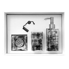 GRAFFITI Set Nero/Argento/AvorioGRAFFITI Set composto da dispenser, bicchiere e vaschetta portasapone in vetro, colore nero/argento/avorio. Il set è venduto in una confezione regalo.