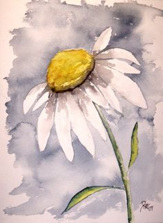 12 x 18 watercolor painting poster fine art print of a daisy flower