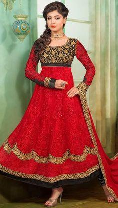 Red Net Long Anarkali Salwar Kameez 43297