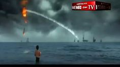 ( WAR WARNING Iran sinks American navy fleet with a huge TIDAL WAVE in ISIS-style propaganda video showing slaying of 'Great Satan' ) :  The disturbing clip also shows the provocative burning of a US flag