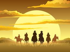 Illustration of Team of cowboys silhouette galloping against a sunset background vector art, clipart and stock vectors. Cowboy Horse, Cowboy Art, Free Vector Graphics, Free Vector Art, Old West Photos, Adobe, Stencils, Sunset Background, Wild West