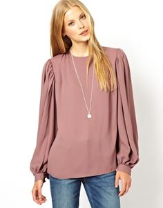 ASOS Blouse with Balloon Sleeve and Gathered Detail