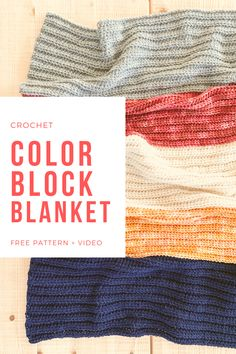 Free pattern for a crochet color block blanket, a dynamic heirloom style blanket with easy construction, a video tutorial, and 12 sizes! Vintage Crochet Patterns, Crochet Patterns For Beginners, Crochet Blanket Patterns, Knitting Patterns, Knitting Tutorials, Crochet Ideas, Crochet Projects, Stitch Patterns, Crochet Hooks