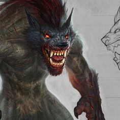 One of the monsters created for the mobile game 'Monster heart'. Mythological Creatures, Fantasy Creatures, Mythical Creatures, Real Vampires, Vampires And Werewolves, Of Wolf And Man, Myths & Monsters, Man Beast, Werewolf Art