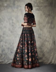 Looking for Multi Colour Lehengas to wear to your mehendi and sangeet? Check out these amazing designers and know their lehenga prices in this post. Indian Gowns Dresses, Indian Fashion Dresses, Indian Designer Outfits, Girls Fashion Clothes, Indian Outfits, Woman Clothing, Fashion Outfits, Lehenga Designs Simple, Simple Lehenga